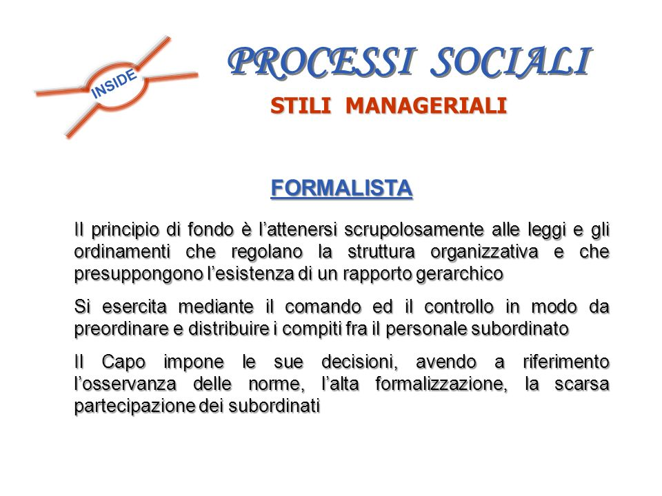 PROCESSI SOCIALI STILI MANAGERIALI FORMALISTA