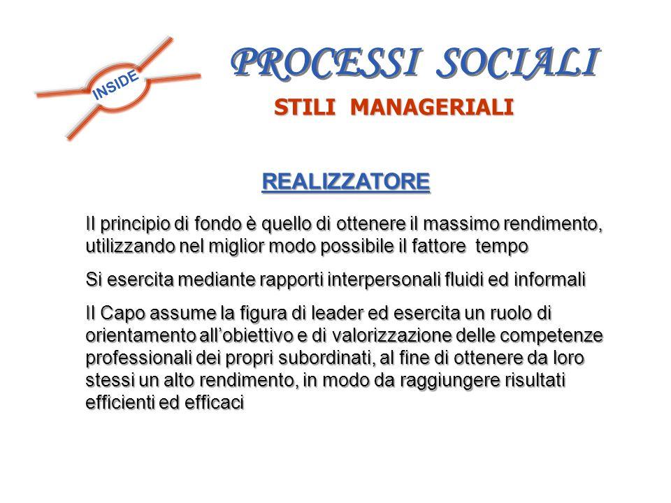 PROCESSI SOCIALI STILI MANAGERIALI REALIZZATORE