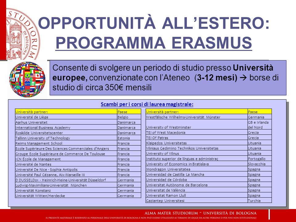 OPPORTUNITÀ ALL'ESTERO: PROGRAMMA ERASMUS