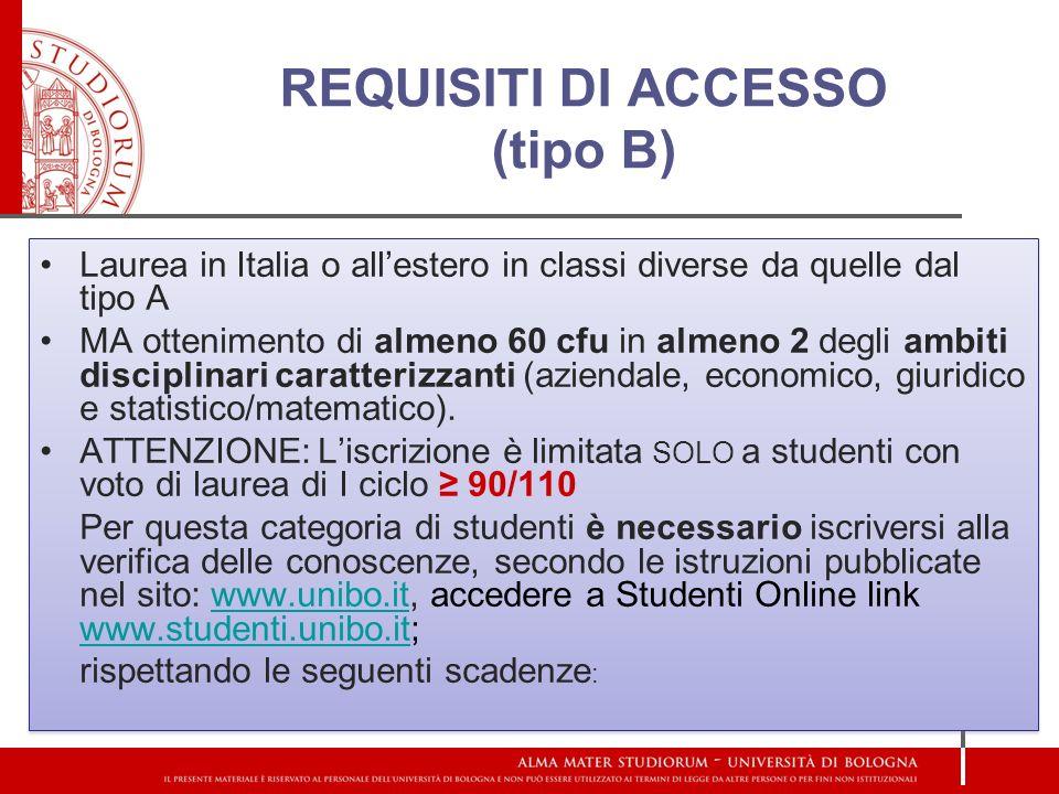 REQUISITI DI ACCESSO (tipo B)