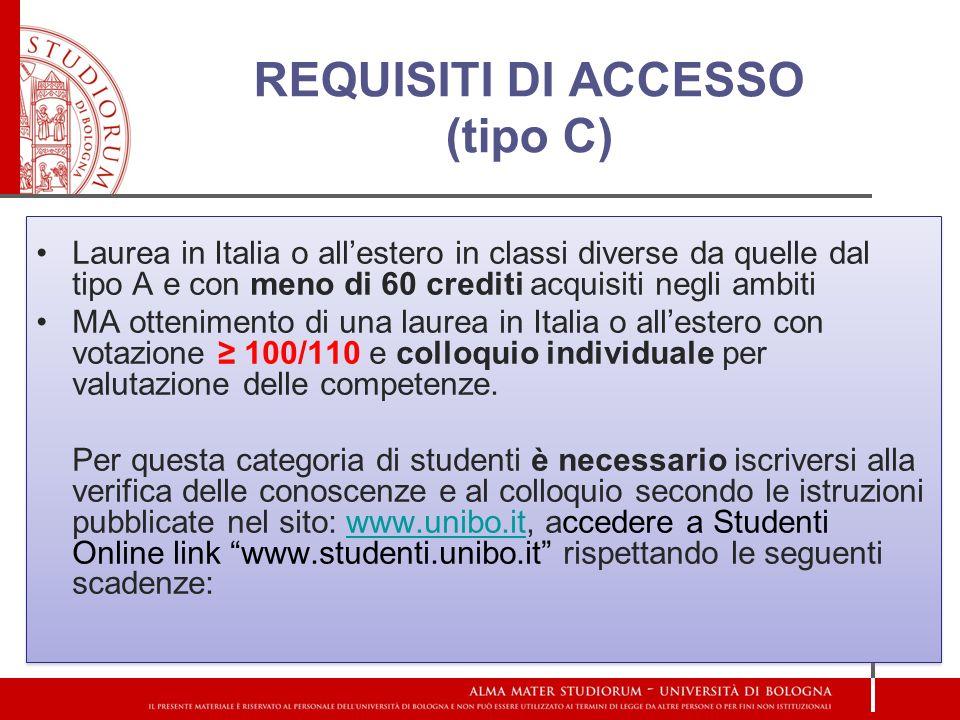 REQUISITI DI ACCESSO (tipo C)