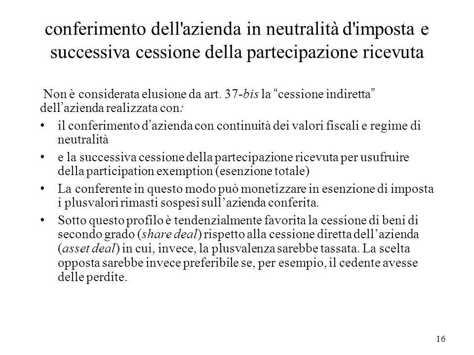 conferimento dell azienda in neutralità d imposta e successiva cessione della partecipazione ricevuta