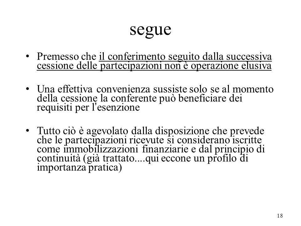 segue Premesso che il conferimento seguito dalla successiva cessione delle partecipazioni non è operazione elusiva.