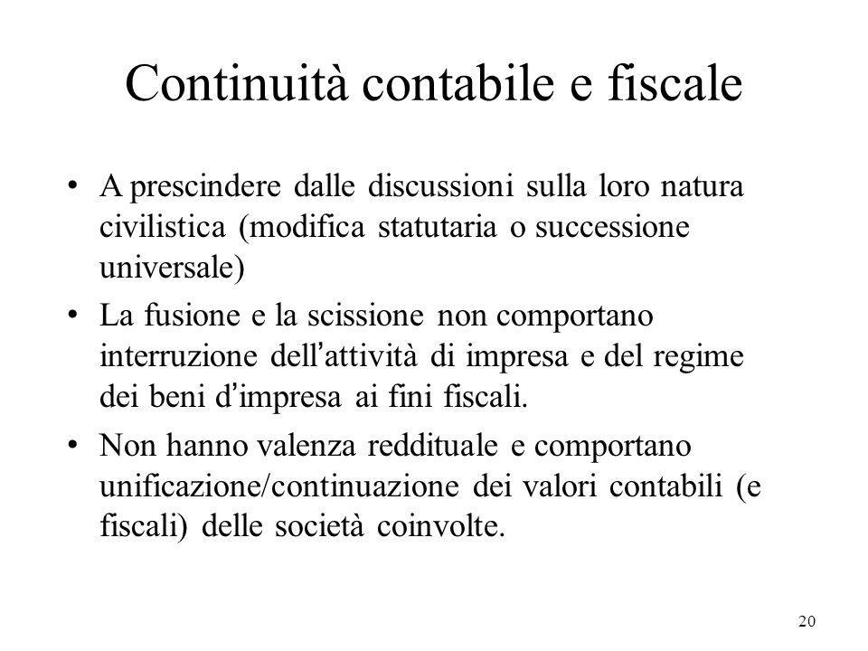 Continuità contabile e fiscale
