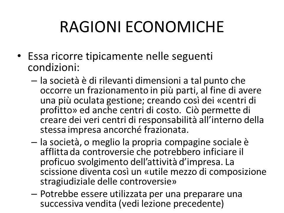 RAGIONI ECONOMICHE Essa ricorre tipicamente nelle seguenti condizioni: