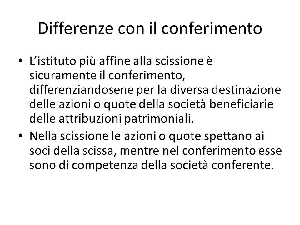 Differenze con il conferimento