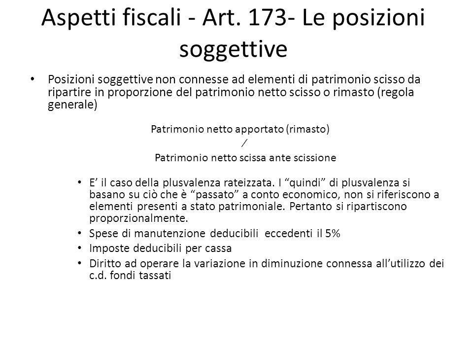 Aspetti fiscali - Art. 173- Le posizioni soggettive