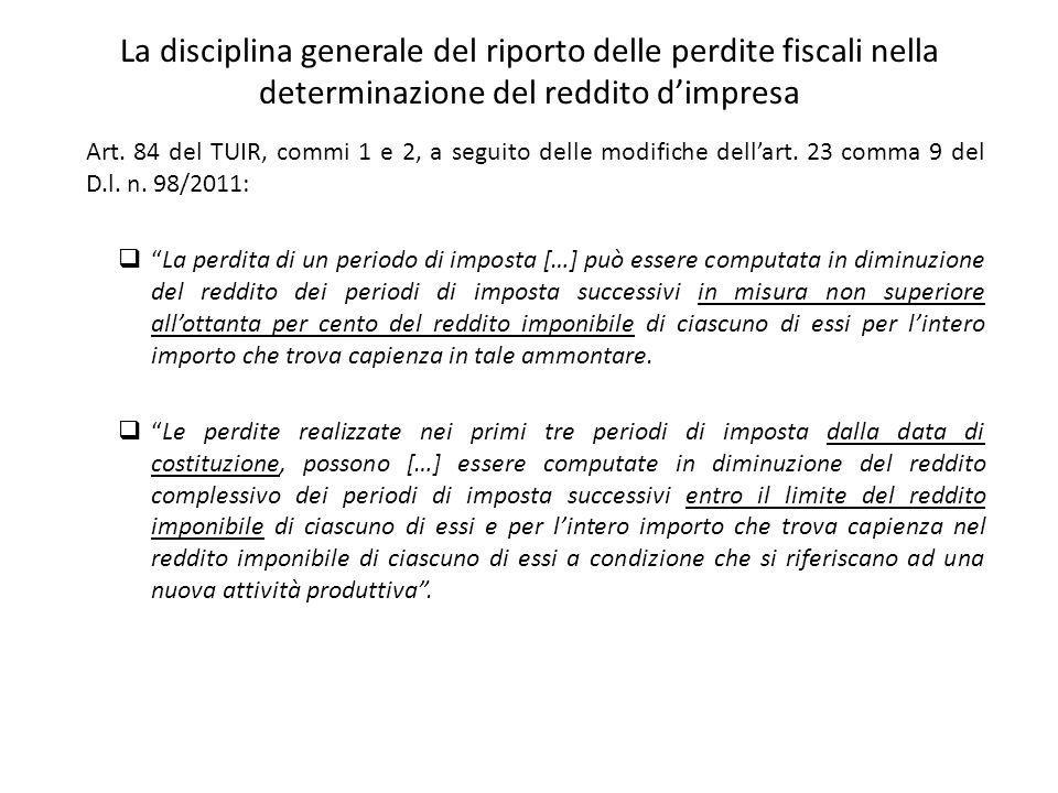 La disciplina generale del riporto delle perdite fiscali nella determinazione del reddito d'impresa