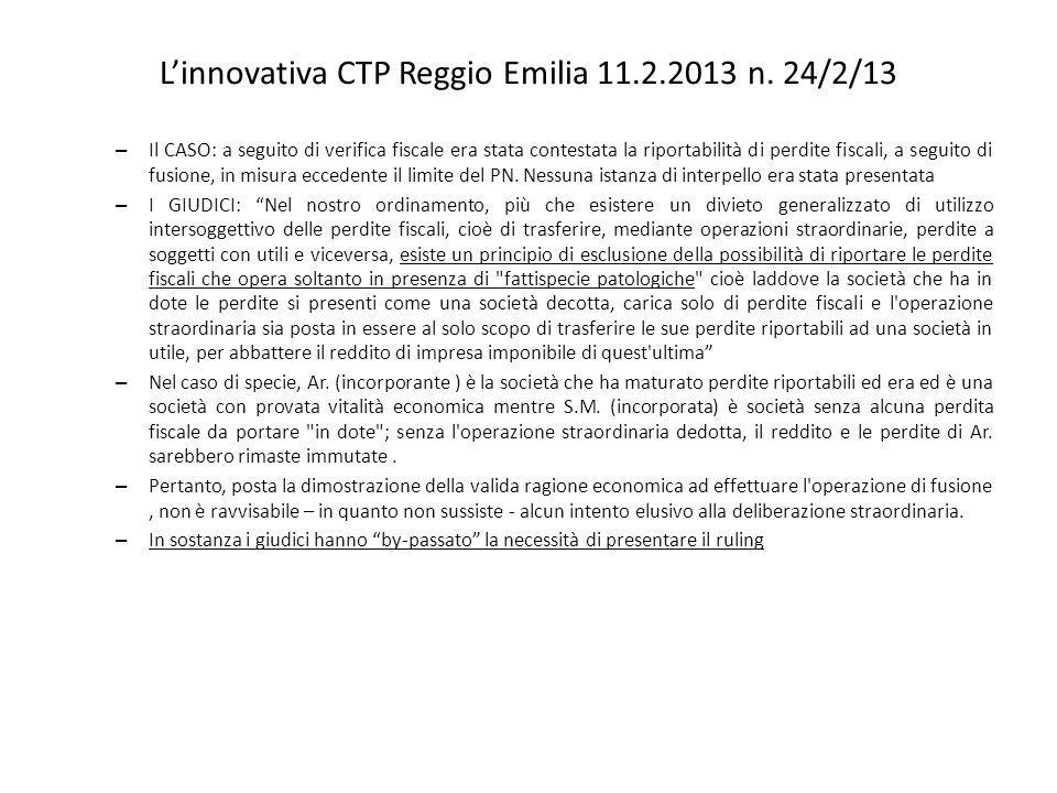 L'innovativa CTP Reggio Emilia 11.2.2013 n. 24/2/13