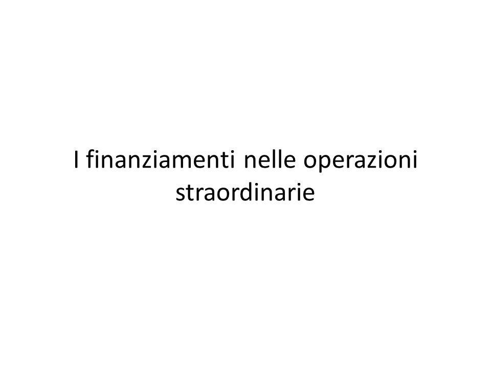 I finanziamenti nelle operazioni straordinarie