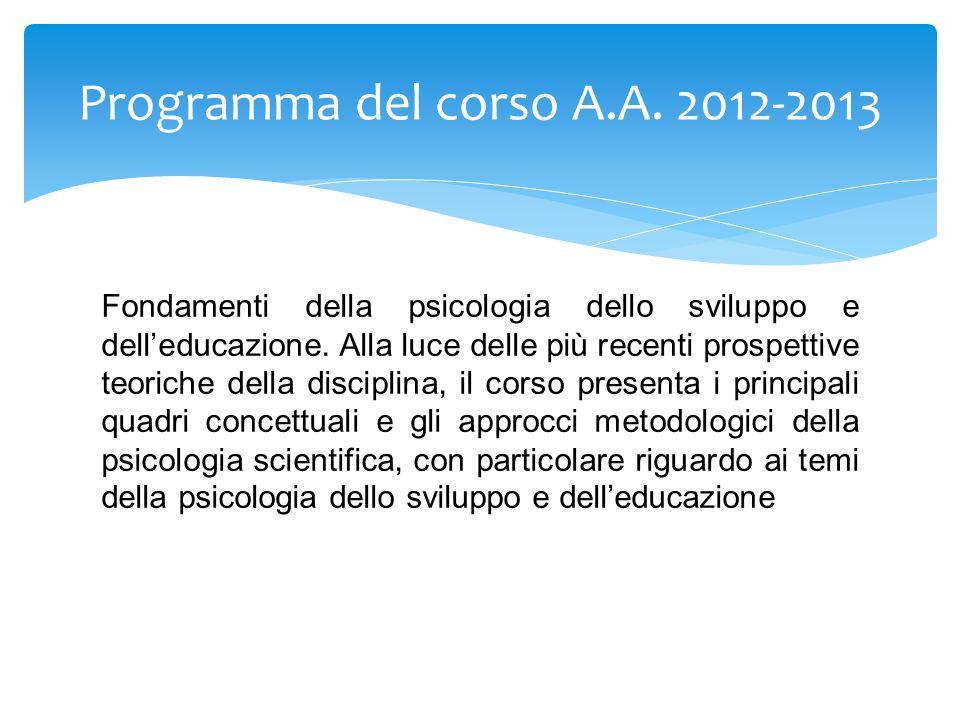 Programma del corso A.A. 2012-2013