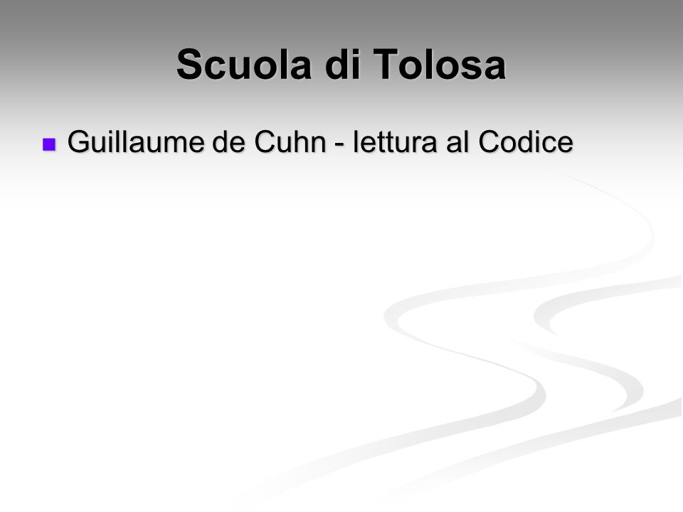 Scuola di Tolosa Guillaume de Cuhn - lettura al Codice