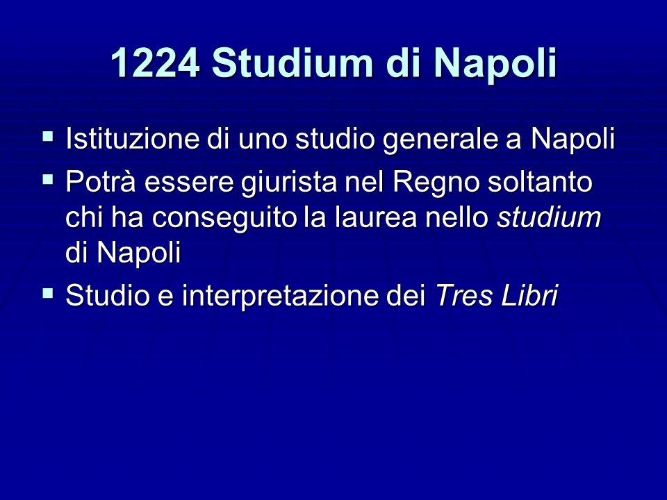 1224 Studium di Napoli Istituzione di uno studio generale a Napoli