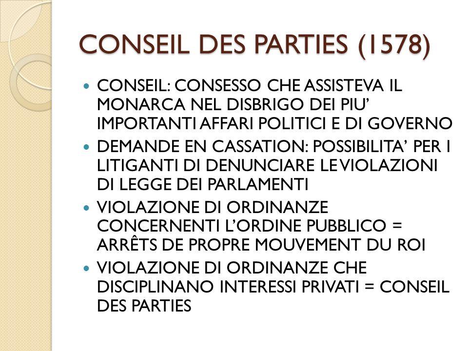 CONSEIL DES PARTIES (1578) CONSEIL: CONSESSO CHE ASSISTEVA IL MONARCA NEL DISBRIGO DEI PIU' IMPORTANTI AFFARI POLITICI E DI GOVERNO.