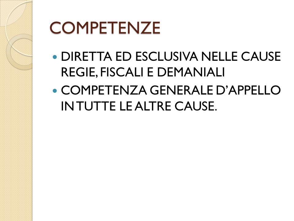 COMPETENZE DIRETTA ED ESCLUSIVA NELLE CAUSE REGIE, FISCALI E DEMANIALI