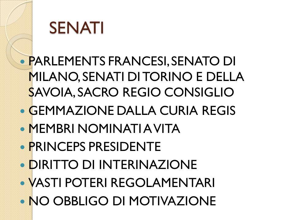 SENATI PARLEMENTS FRANCESI, SENATO DI MILANO, SENATI DI TORINO E DELLA SAVOIA, SACRO REGIO CONSIGLIO.