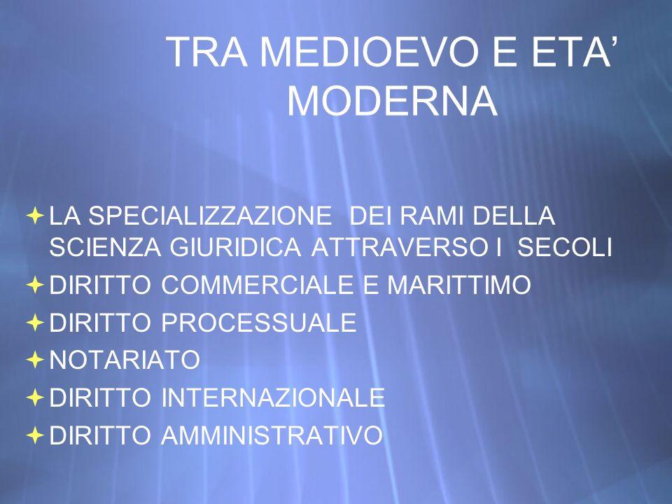 TRA MEDIOEVO E ETA' MODERNA