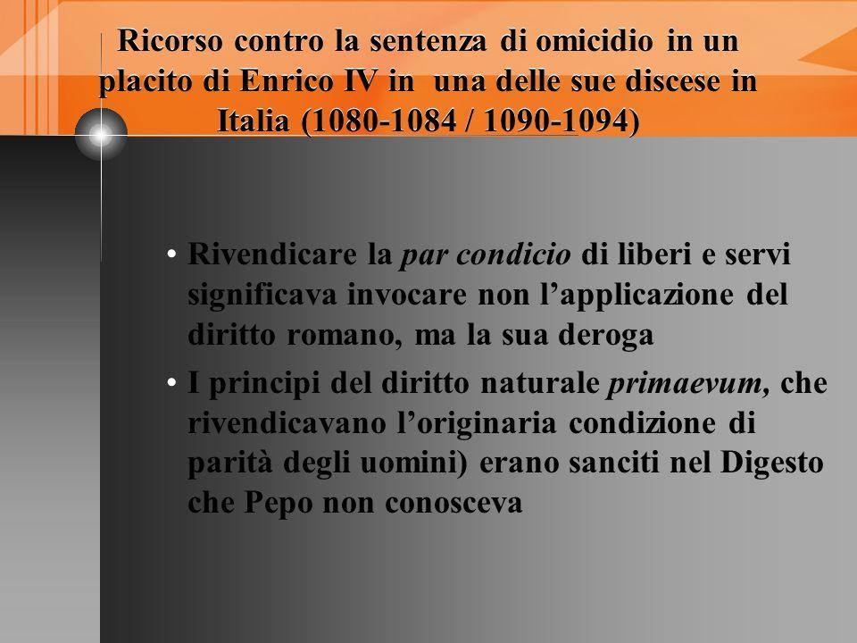 Ricorso contro la sentenza di omicidio in un placito di Enrico IV in una delle sue discese in Italia (1080-1084 / 1090-1094)