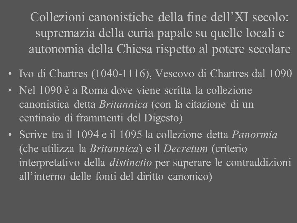 Collezioni canonistiche della fine dell'XI secolo: supremazia della curia papale su quelle locali e autonomia della Chiesa rispetto al potere secolare