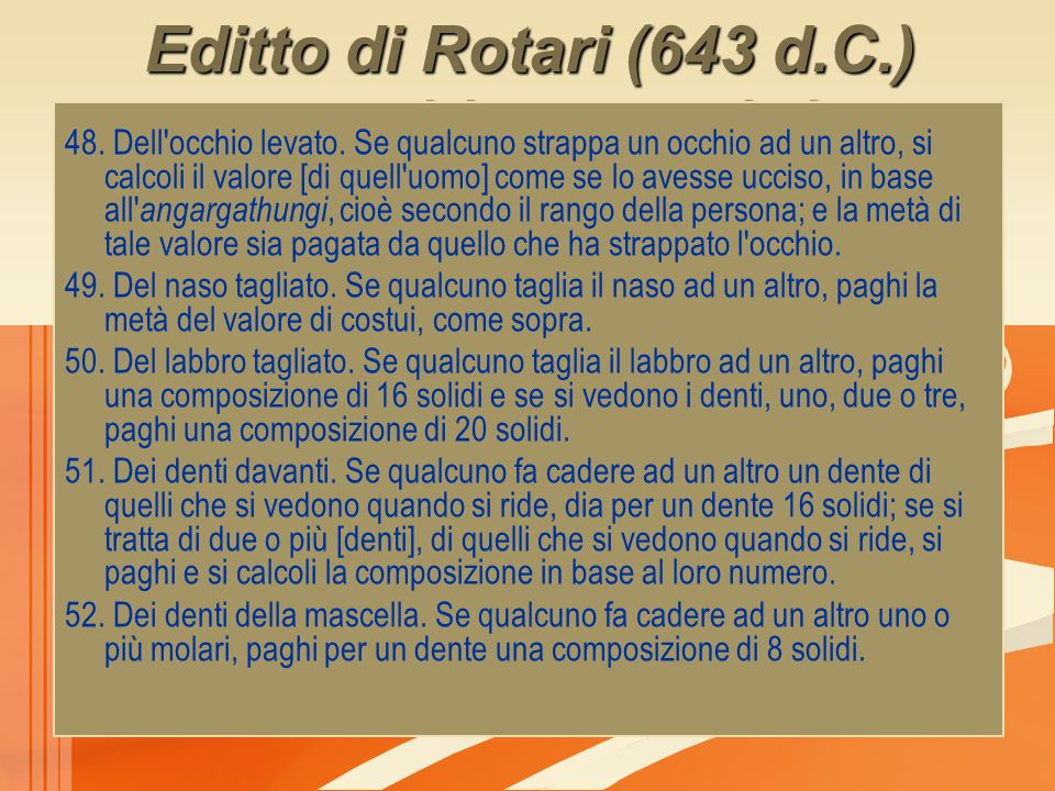 Editto di Rotari (643 d.C.) composizione pecuniaria