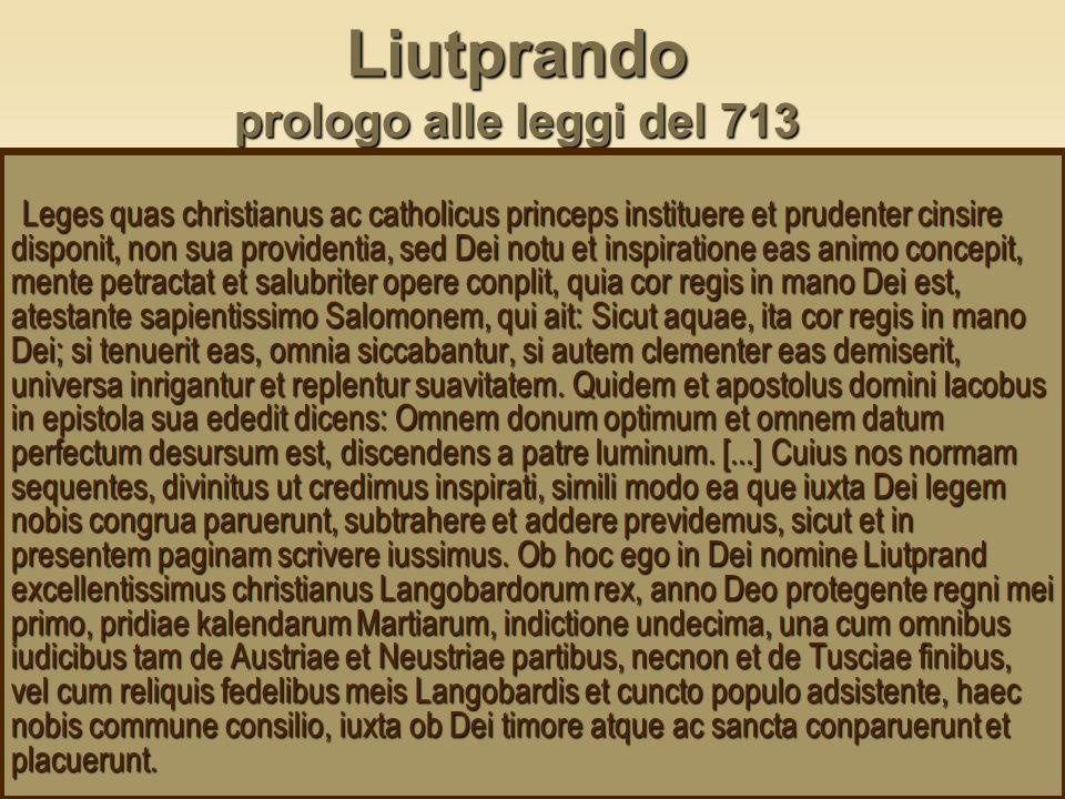 Liutprando prologo alle leggi del 713