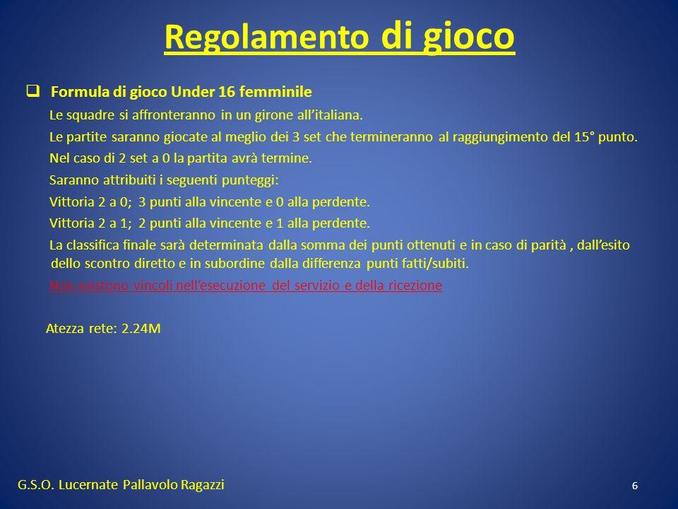 Regolamento di gioco Formula di gioco Under 16 femminile