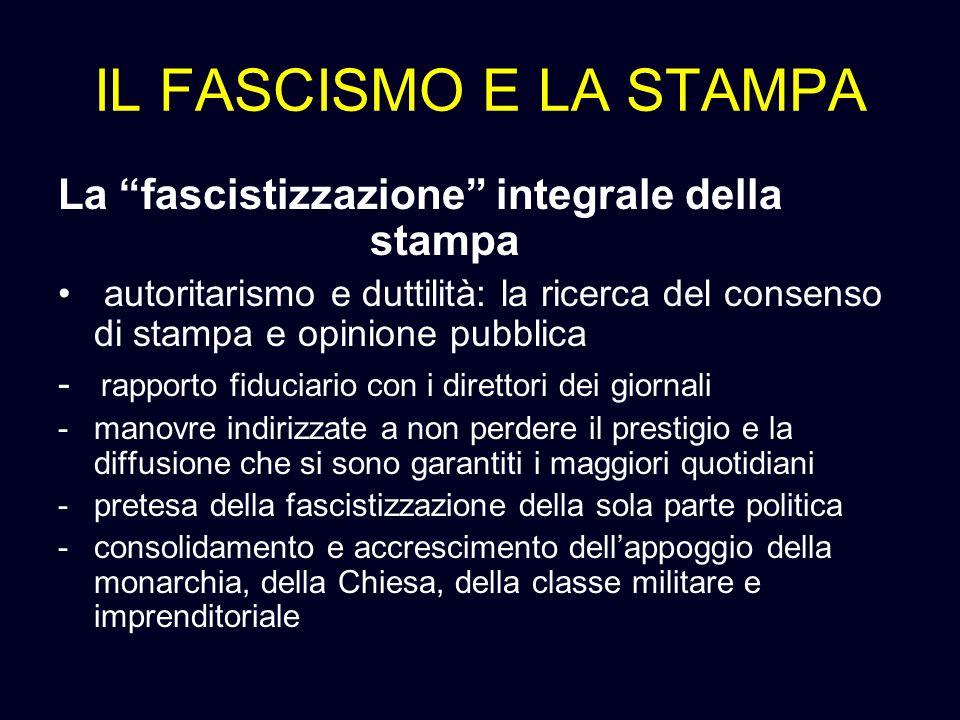IL FASCISMO E LA STAMPA La fascistizzazione integrale della stampa
