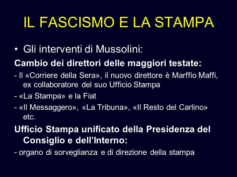 IL FASCISMO E LA STAMPA Gli interventi di Mussolini: