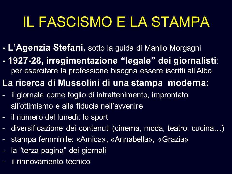 IL FASCISMO E LA STAMPA - L'Agenzia Stefani, sotto la guida di Manlio Morgagni.