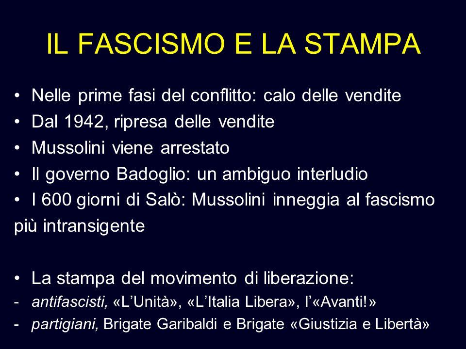 IL FASCISMO E LA STAMPA Nelle prime fasi del conflitto: calo delle vendite. Dal 1942, ripresa delle vendite.