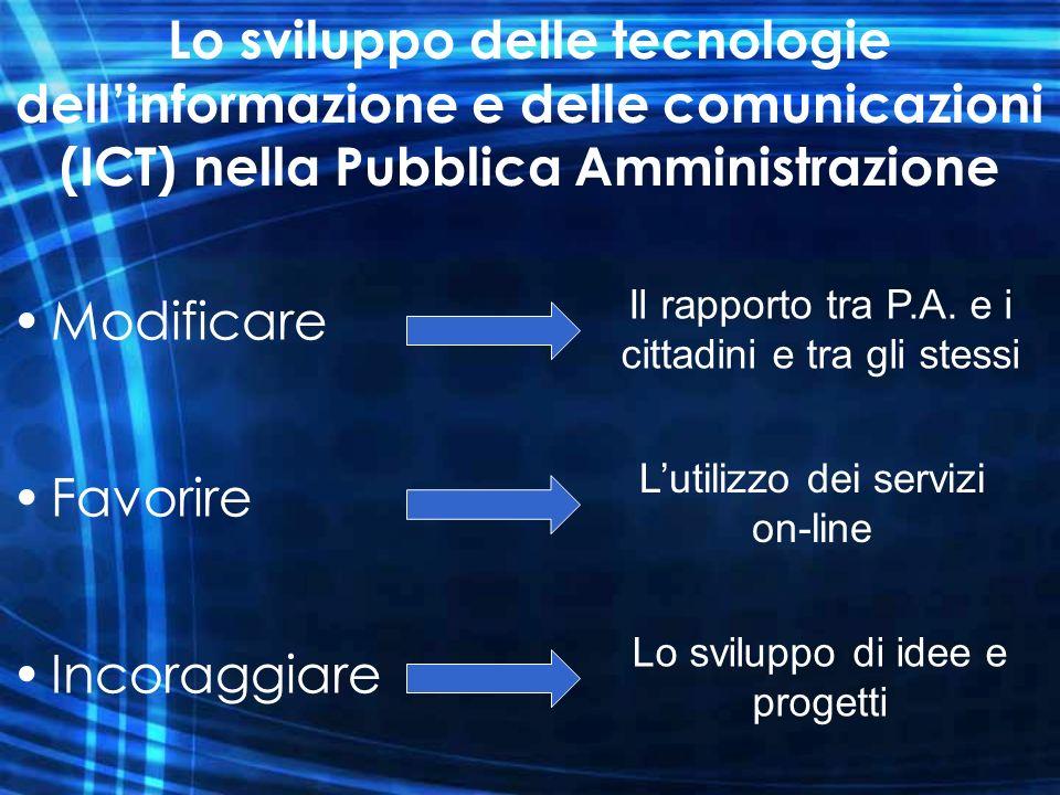 Lo sviluppo delle tecnologie dell'informazione e delle comunicazioni (ICT) nella Pubblica Amministrazione