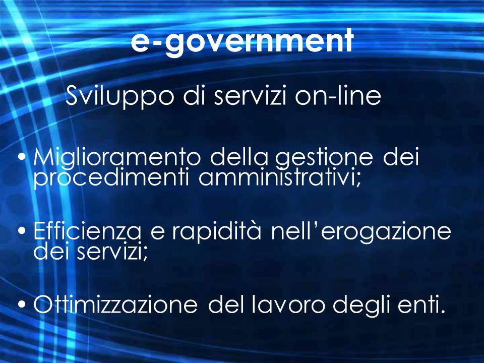 e-government Sviluppo di servizi on-line