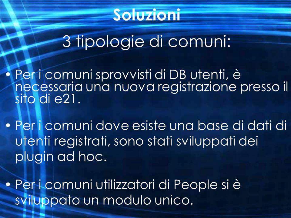 Soluzioni 3 tipologie di comuni: