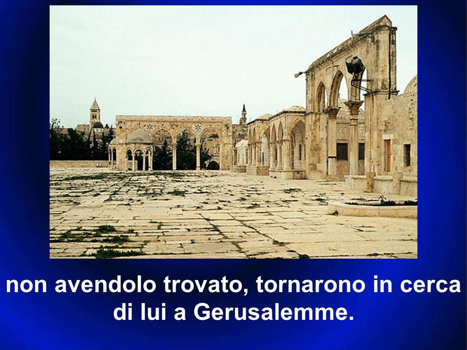 non avendolo trovato, tornarono in cerca di lui a Gerusalemme.