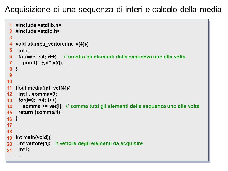 Acquisizione di una sequenza di interi e calcolo della media