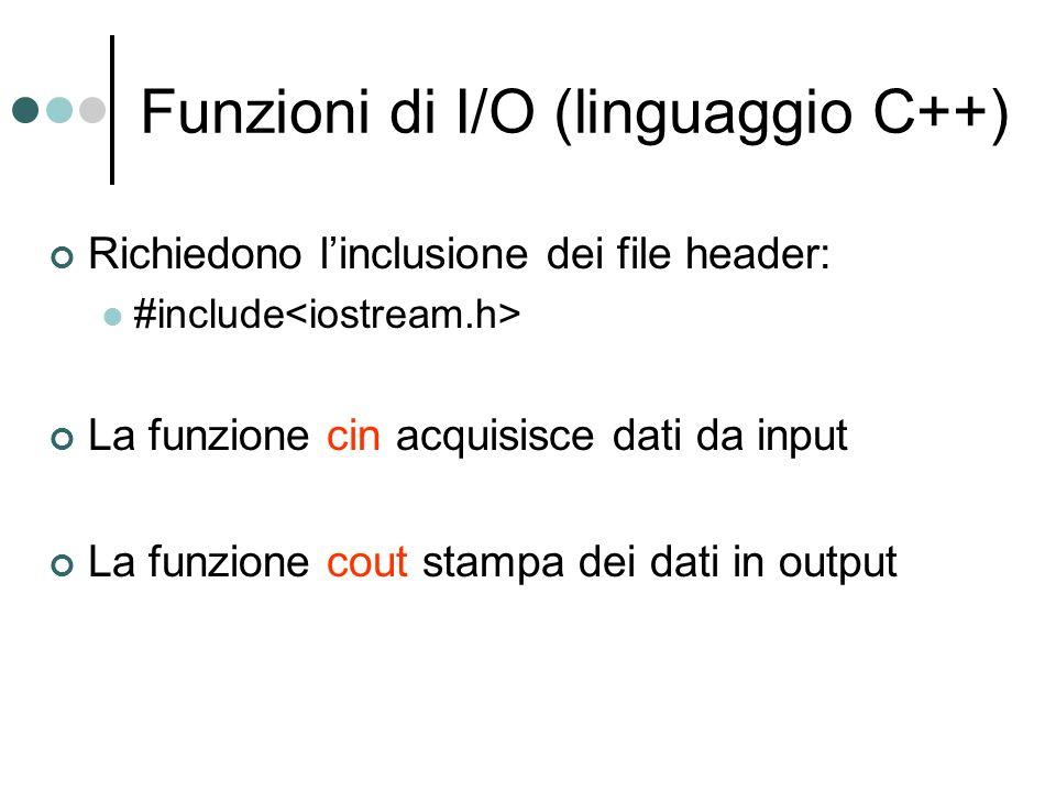Funzioni di I/O (linguaggio C++)