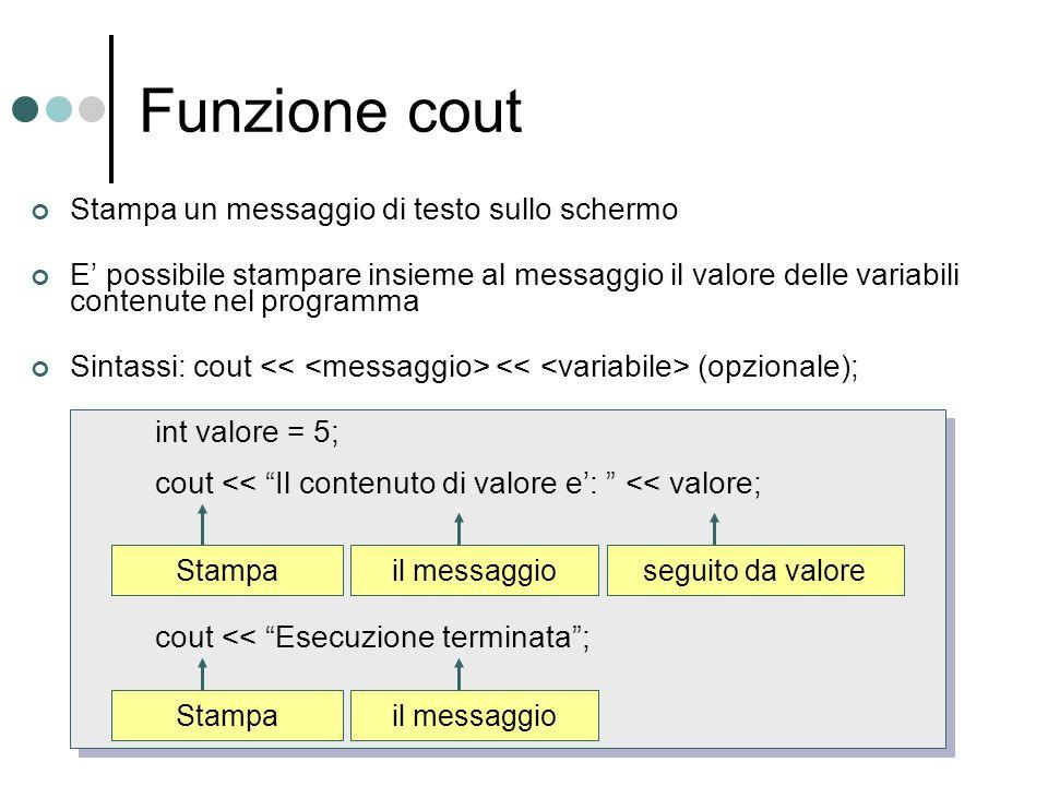 Funzione cout Stampa un messaggio di testo sullo schermo