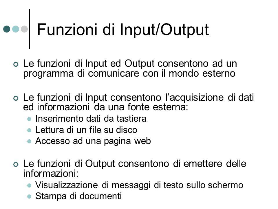 Funzioni di Input/Output