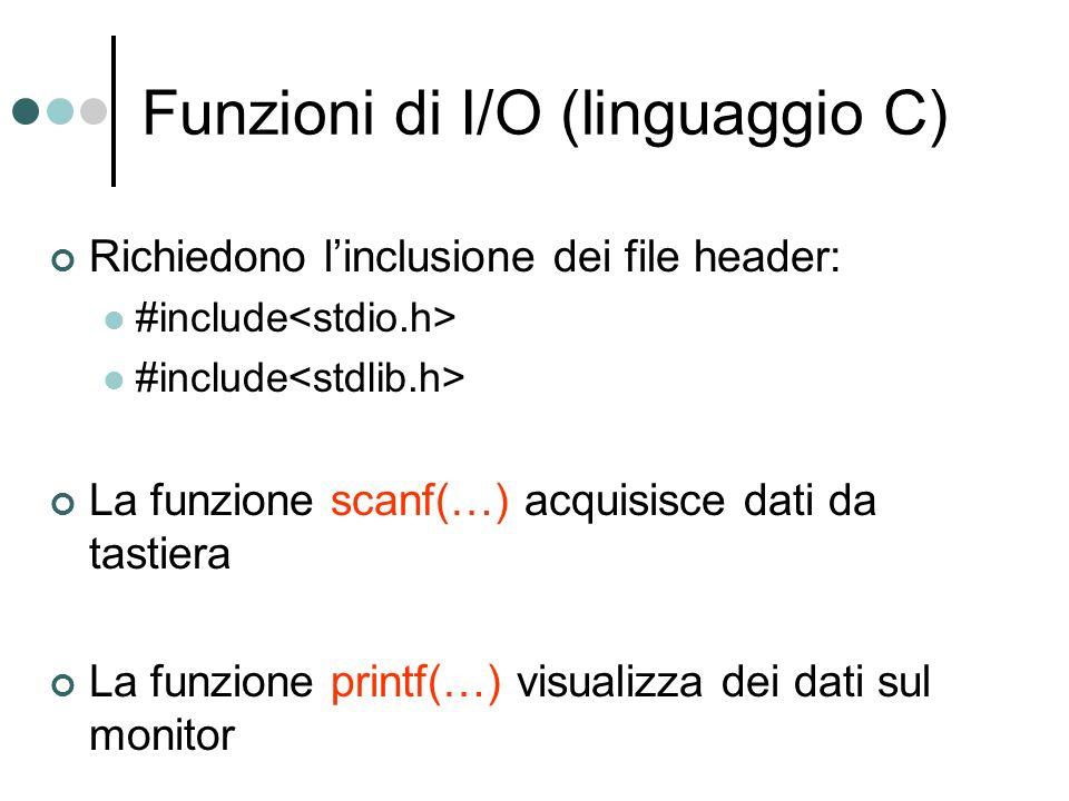Funzioni di I/O (linguaggio C)