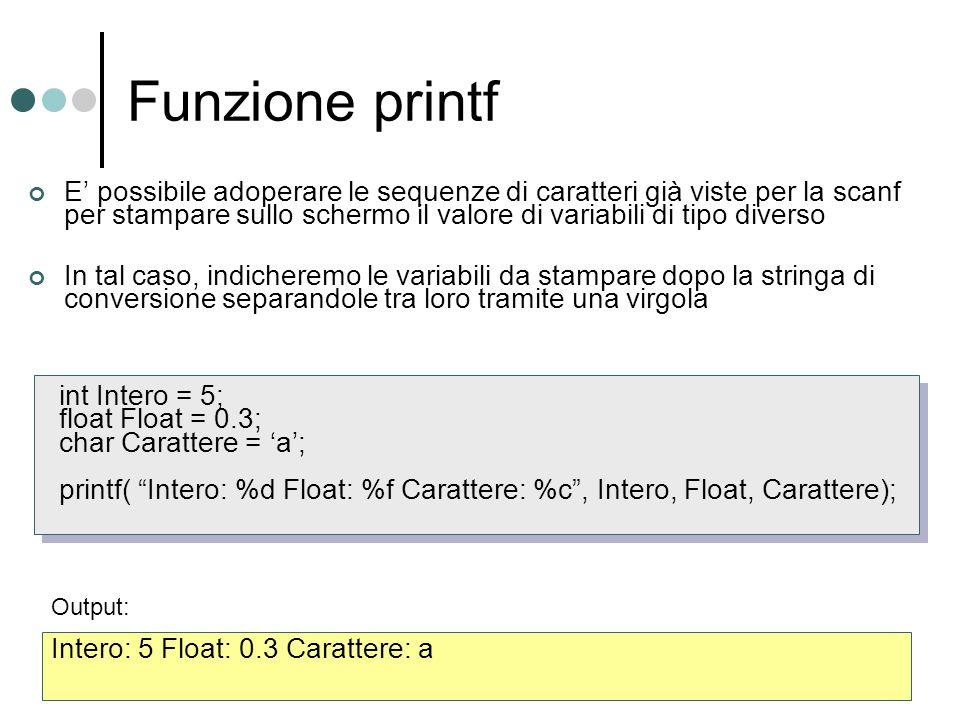 Funzione printf