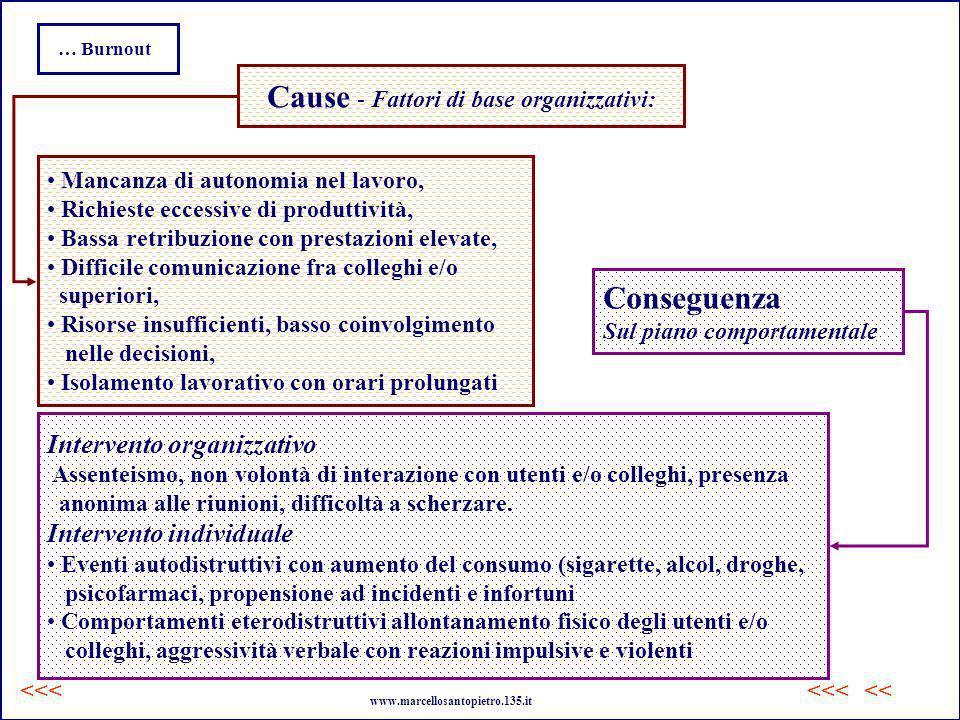 Cause - Fattori di base organizzativi: