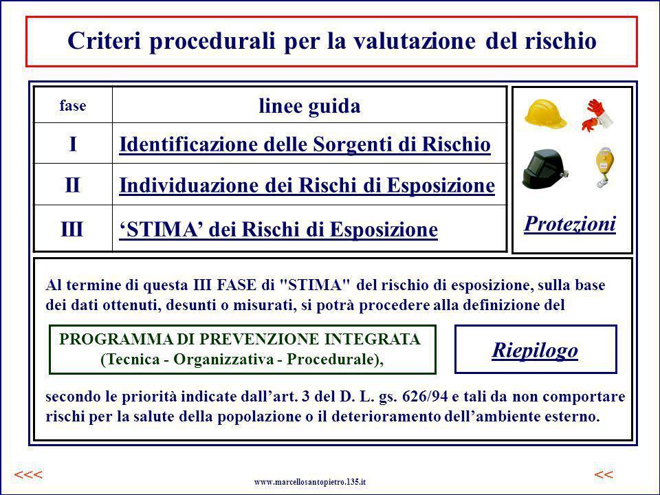 Criteri procedurali per la valutazione del rischio