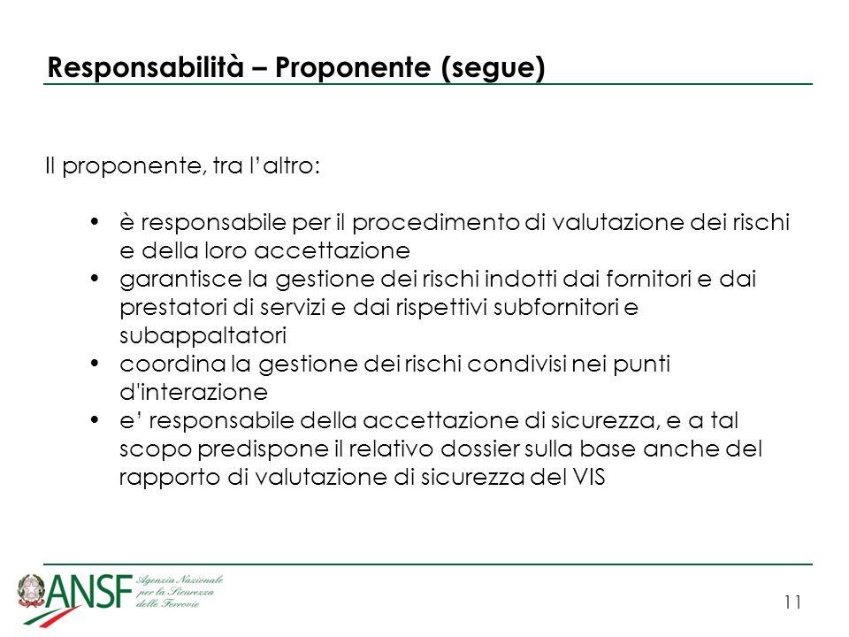 Responsabilità – Proponente (segue)