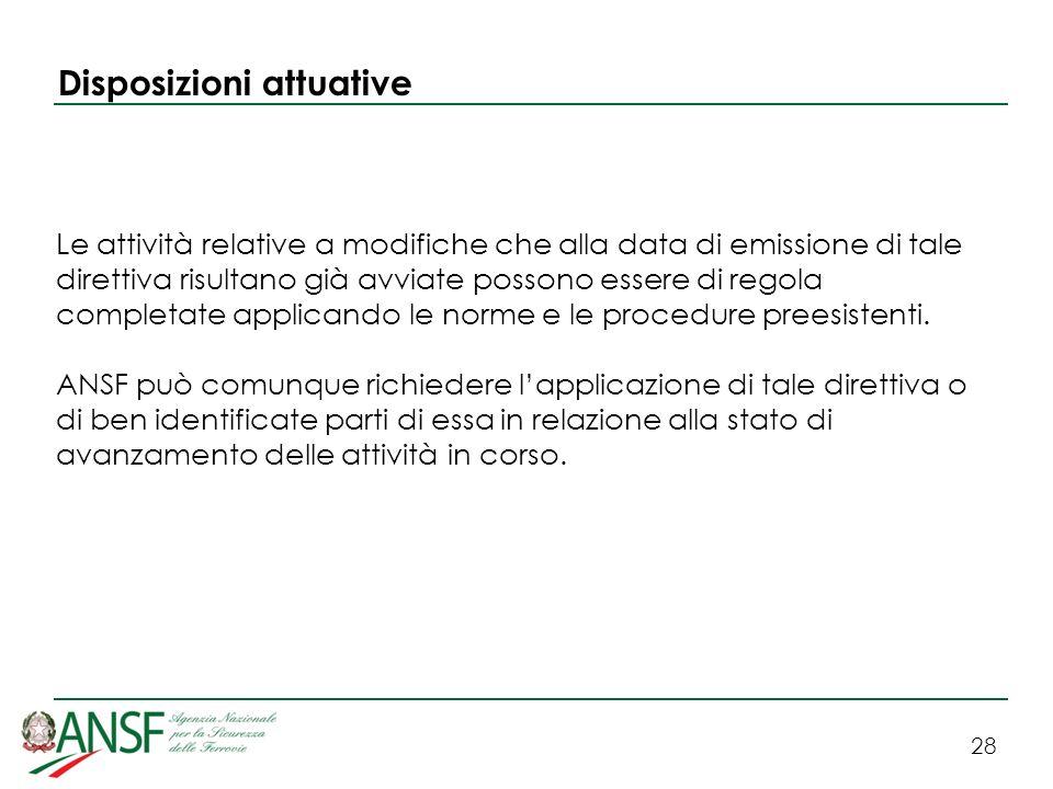 Disposizioni attuative