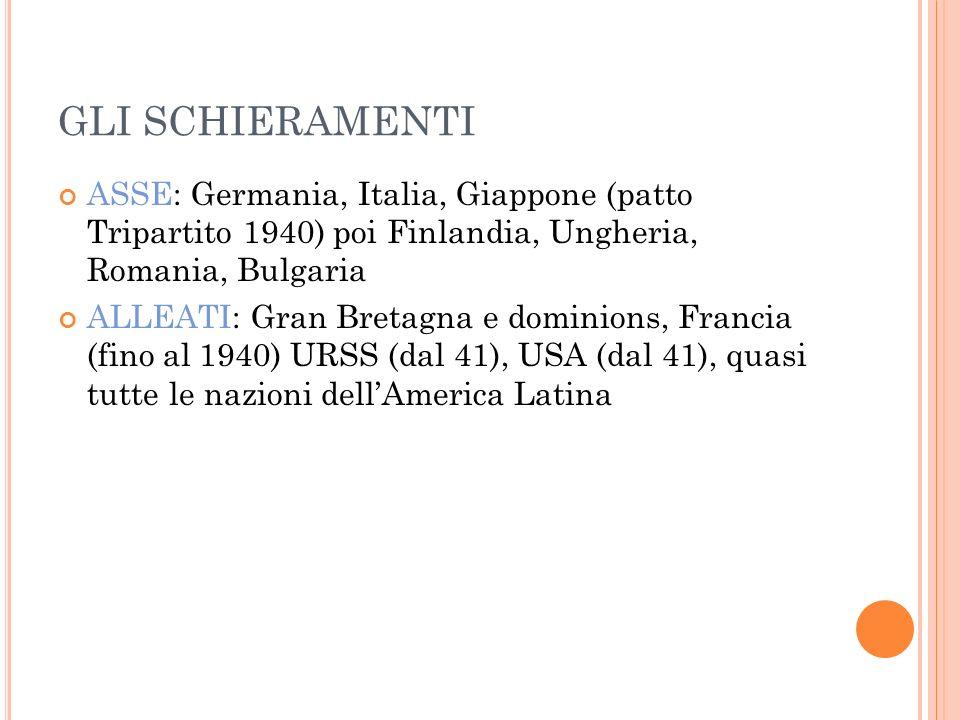 GLI SCHIERAMENTI ASSE: Germania, Italia, Giappone (patto Tripartito 1940) poi Finlandia, Ungheria, Romania, Bulgaria.