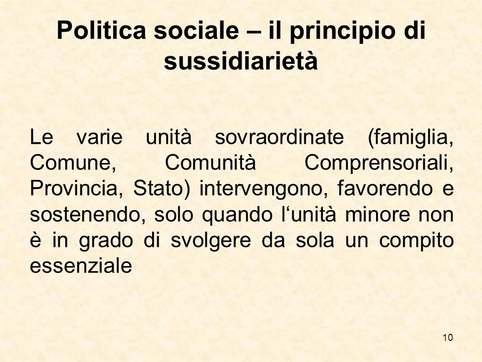 Politica sociale – il principio di sussidiarietà