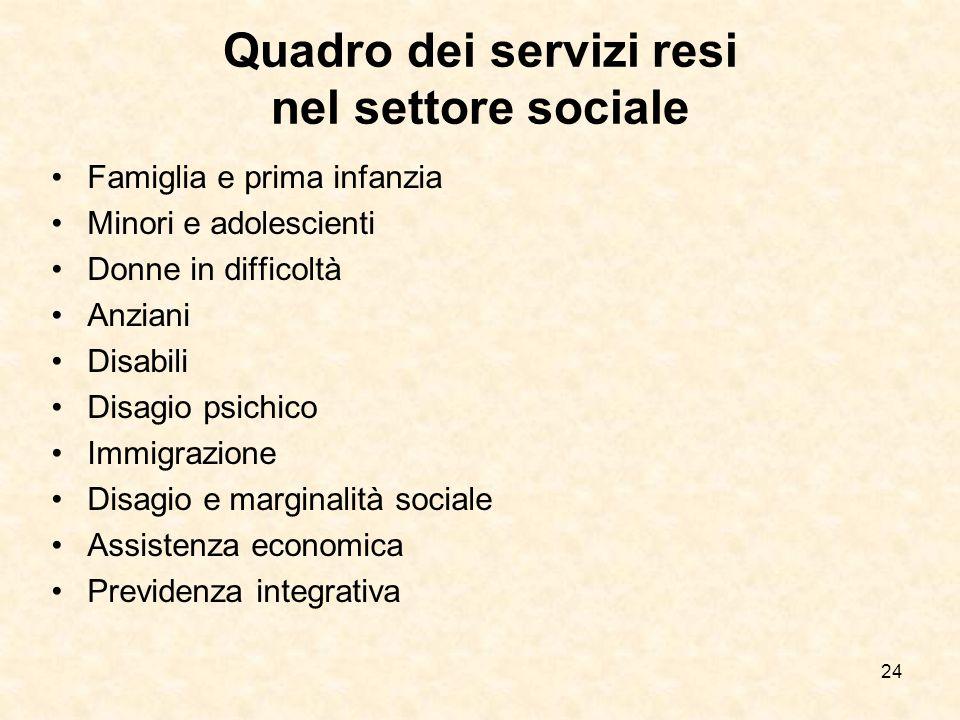 Quadro dei servizi resi nel settore sociale