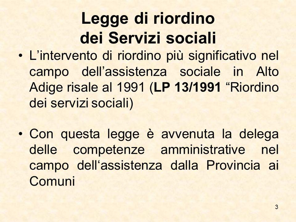 Legge di riordino dei Servizi sociali