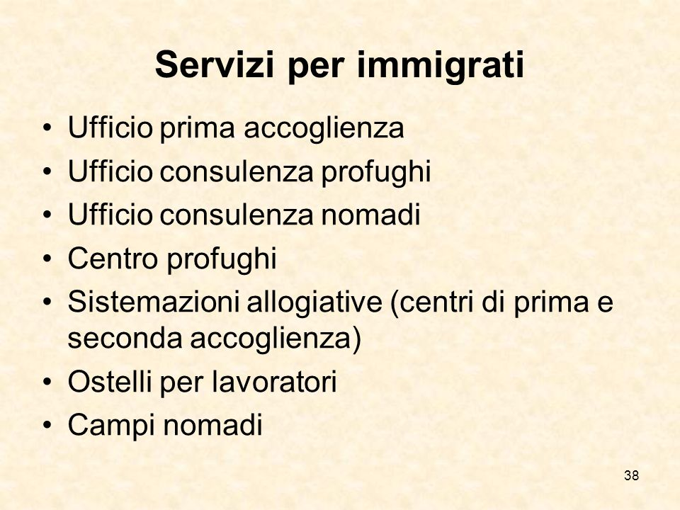 Servizi per immigrati Ufficio prima accoglienza