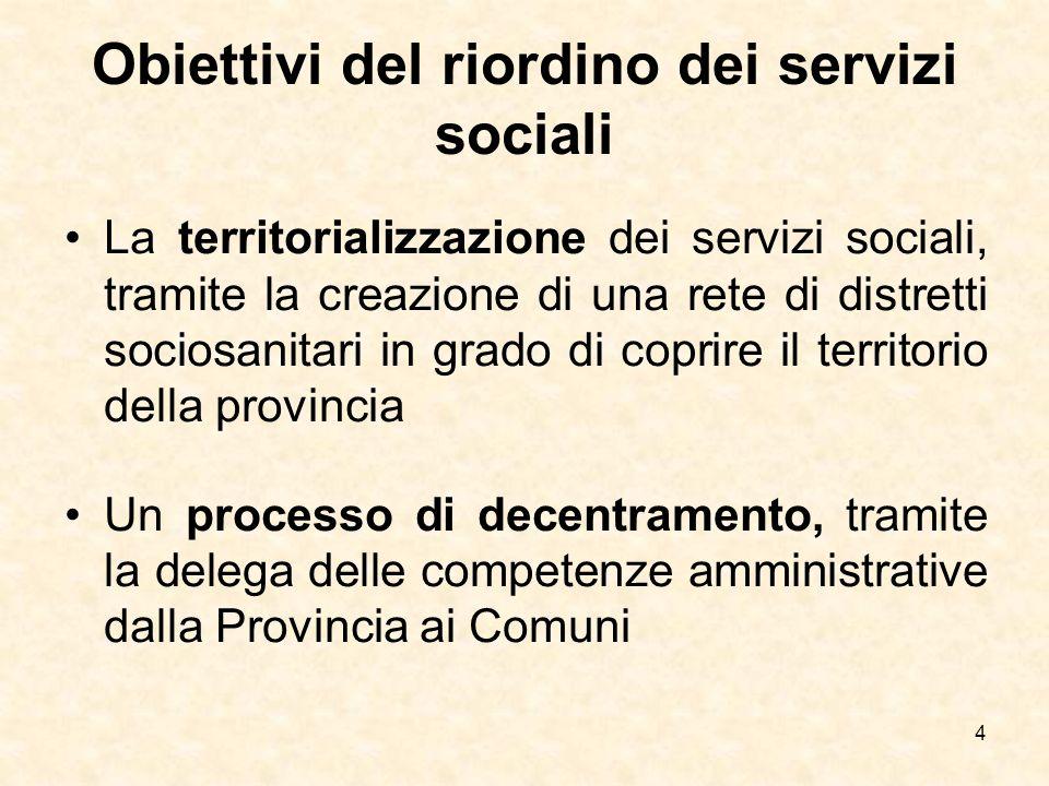 Obiettivi del riordino dei servizi sociali